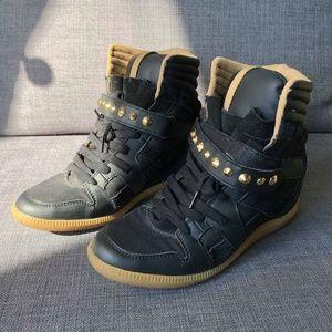 Zara Wedge Sneakers - Black and Gold